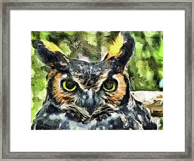 Framed Print featuring the mixed media Night Owl by Trish Tritz