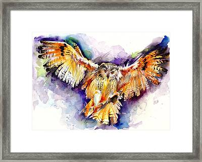 Night Owl Watercolor, Hunting Owl, Flying Brown Owl Framed Print
