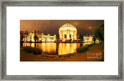 Night Panorama Of Palace Of Fine Arts Theater In Marina District - San Francisco California Framed Print by Silvio Ligutti