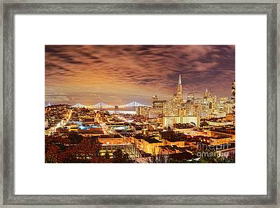 Night Panorama Of San Francisco And Oak Area Bridge From Ina Coolbrith Park - California Framed Print