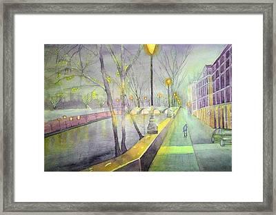 Night Paris Street   Framed Print by Stanley Sum wai lee