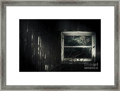 Night Photo Of An Eerie Grunge Window In Moonlight Framed Print by Jorgo Photography - Wall Art Gallery