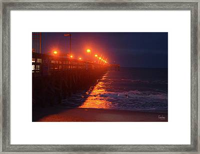 Night Pier Framed Print by Gordon Mooneyhan