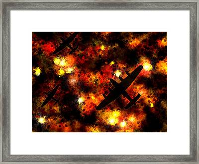 Night Raid - Lancaster Bomber Framed Print by Michael Tompsett