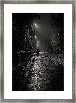 Night Rain And Alone Framed Print by John Williams