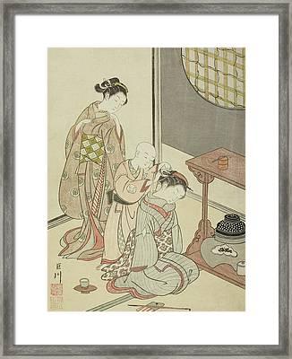 Night Rain Of The Tea Stand Framed Print by Suzuki Harunobu
