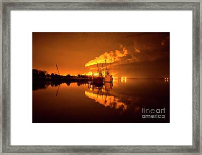 Night Reflections Of A Paper Mill Framed Print