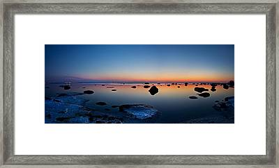 Night Reflections Seascape After Sunset Panorama Framed Print