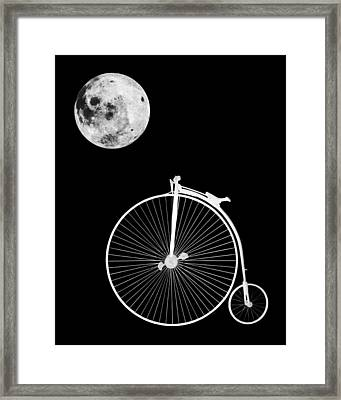 Night Rider - Penny Farthing And Moon Framed Print