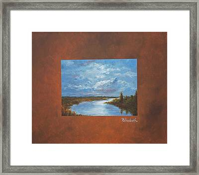 Night River With Painted Border Framed Print by Beth Maddox