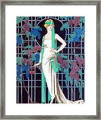 Night Rose Framed Print by Georges Barbier