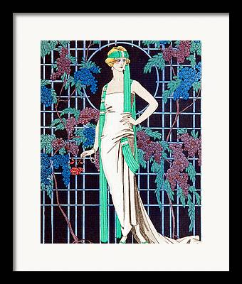 Grapes Deco Drawings Framed Prints