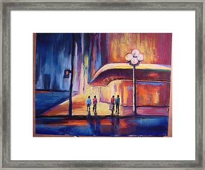 Night Scene Framed Print by Annette Kagy