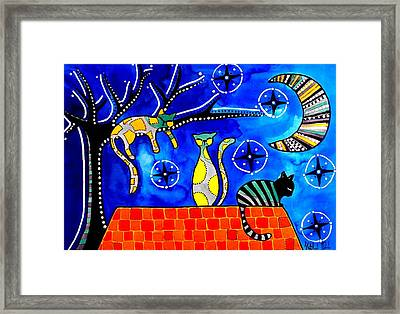 Night Shift - Cat Art By Dora Hathazi Mendes Framed Print