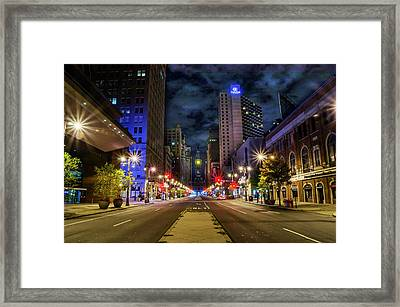 Framed Print featuring the photograph Night Shot Of Broad Street - Philadelphia by Bill Cannon