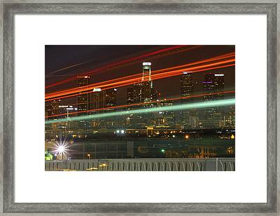 Night Shot Of Downtown Los Angeles Skyline From 6th St. Bridge Framed Print