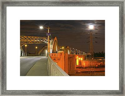 Night Shot Of The Los Angeles 6th Street Bridge And Supermoon #1 Framed Print