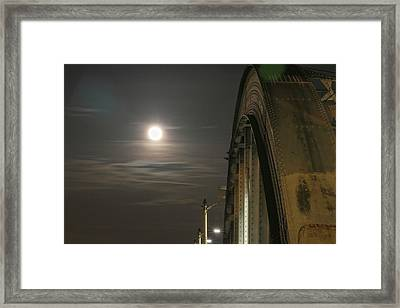 Night Shot Of The Los Angeles 6th Street Bridge And Supermoon #2 Framed Print