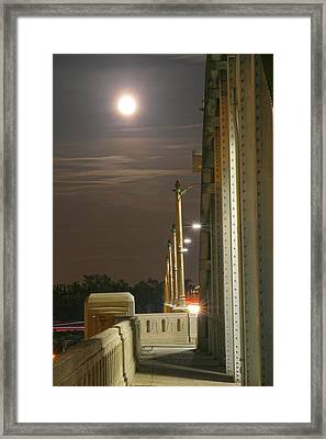 Night Shot Of The Los Angeles 6th Street Bridge And Supermoon #3 Framed Print