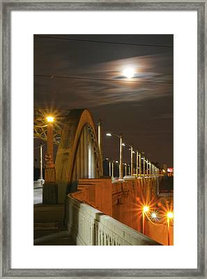 Night Shot Of The Los Angeles 6th Street Bridge And Supermoon #4 Framed Print