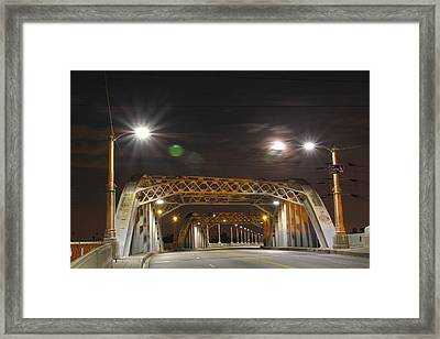 Night Shot Of The Los Angeles 6th Street Bridge And Supermoon #5 Framed Print