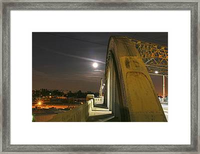 Night Shot Of The Los Angeles 6th Street Bridge And Supermoon #6 Framed Print