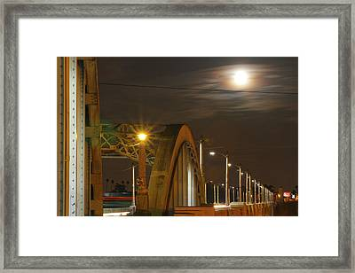 Night Shot Of The Los Angeles 6th Street Bridge And Supermoon #7 Framed Print