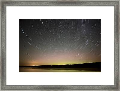Night Shot Star Trails Lake Framed Print by Mark Duffy