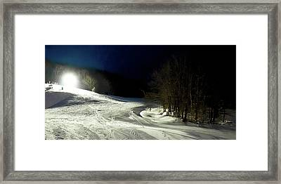 Framed Print featuring the photograph Night Skiing At Mccauley Mountain by David Patterson