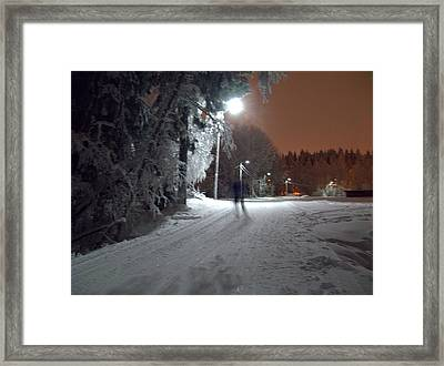 Framed Print featuring the photograph Night Skiing by Sami Tiainen