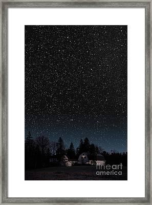 Night Sky Over Barn Framed Print by Larry Landolfi