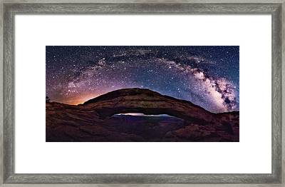 Night Sky Over Mesa Arch Utah Framed Print