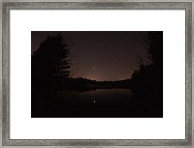 Night Sky Over The Pond Framed Print