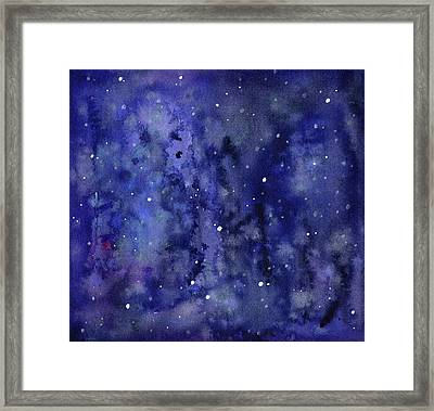Night Sky Watercolor Galaxy Stars Framed Print