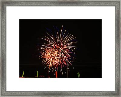 Night Sky With Fireworks Framed Print by Laura Catherine
