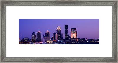 Night Skyline Louisville Ky Framed Print