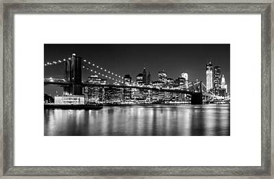 Night Skyline Manhattan Brooklyn Bridge Bw Framed Print