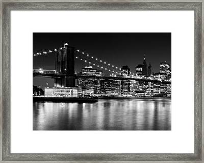 Night Skyline Manhattan Brooklyn Bridge Framed Print by Melanie Viola