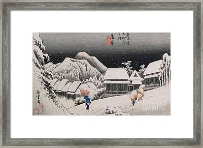 Night Snow Framed Print by Hiroshige