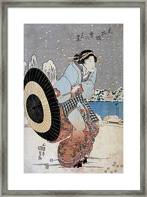 Night Snow Scene At Motonoyanagi Bridge Framed Print by Utagawa Toyokuni