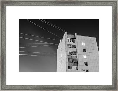 Night Stars Soviet Style Building Framed Print