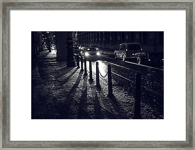 Night Street Of Prague Framed Print by Jenny Rainbow