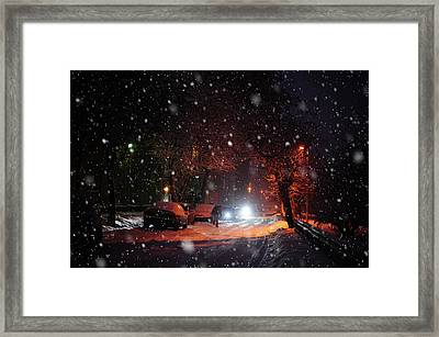 Night Street. Snowy Days In Moscow Framed Print