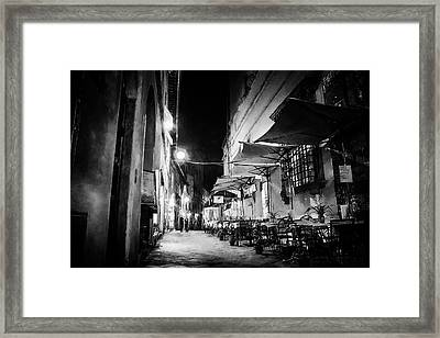 Night Talk - Street Photography Framed Print by Frank Andree