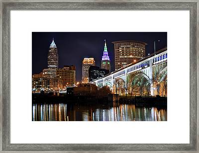 Night Time In The Big City Framed Print by Frozen in Time Fine Art Photography