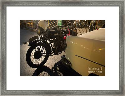 Night Time Silhouette Of Vintage Motorcycle Near Tail Of 50's St Framed Print