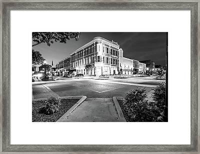 Night Traffic - Downtown Bentonville Arkansas - Black And White Framed Print