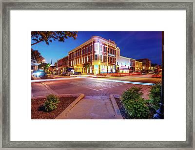 Night Traffic - Downtown Bentonville Arkansas Framed Print