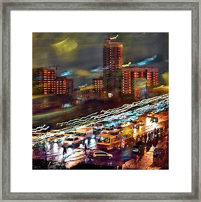 Framed Print featuring the photograph Night Traffic by Vladimir Kholostykh