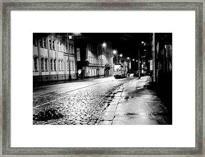 Night Tram In Prague. Black N White Framed Print by Jenny Rainbow